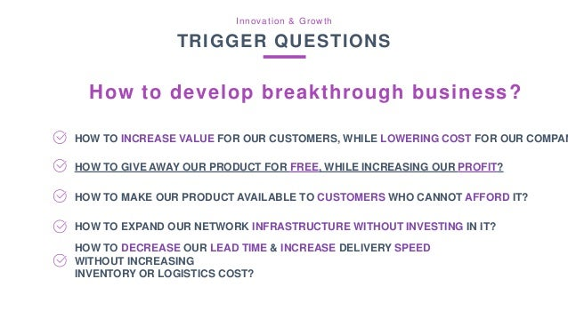 Innovation & Growth TRIGGER QUESTIONS How to develop breakthrough offering? HOW TO INCREASE VALUE FOR OUR CUSTOMERS, WHILE...