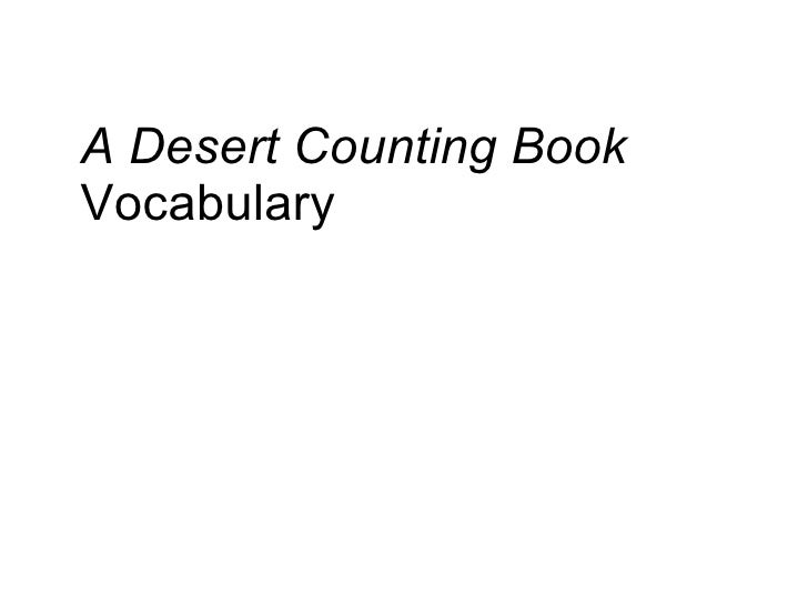 A Desert Counting Book Vocabulary