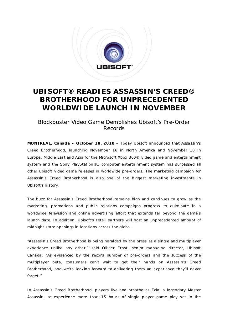 UBISOFT® READIES ASSASSIN'S CREED®    BROTHERHOOD FOR UNPRECEDENTED     WORLDWIDE LAUNCH IN NOVEMBER      Blockbuster Vide...