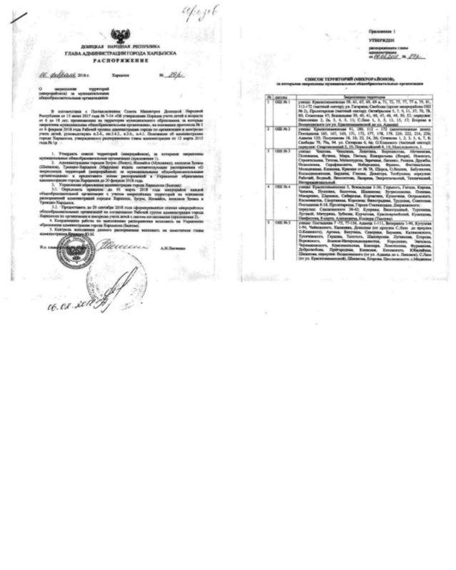 10.   распор. главы г. харцызска от 06.02.2018 № 89 р ,,о закреплении территорий,,