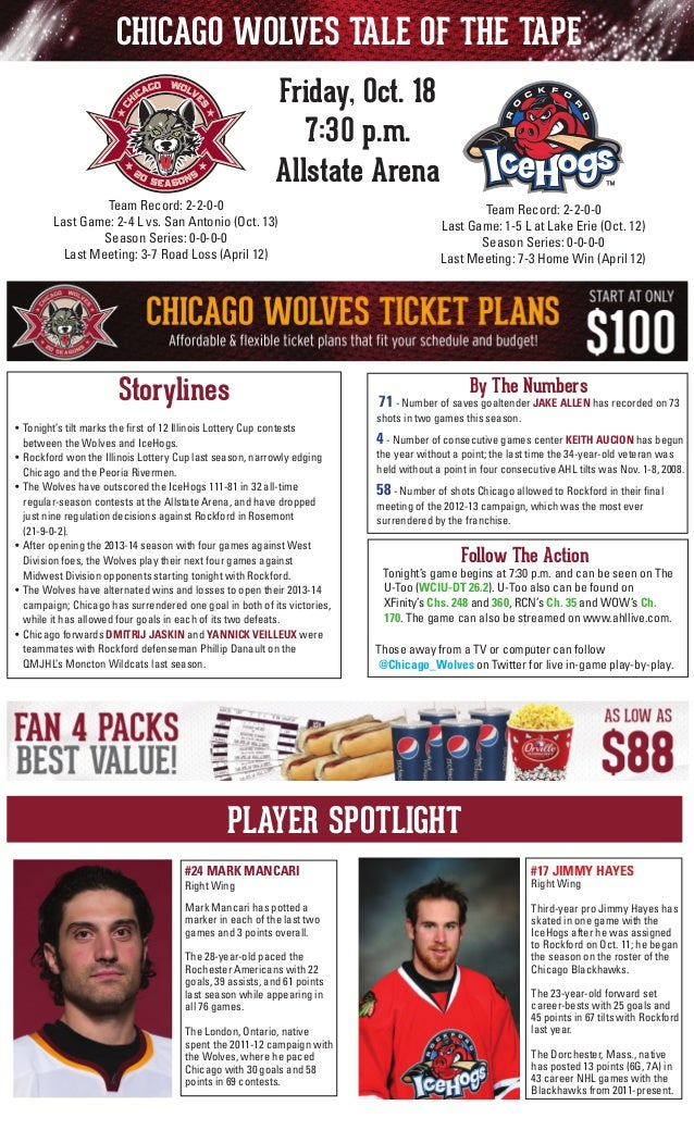 CHICAGO WOLVES TALE OF THE TAPE Friday, Oct. 18 7:30 p.m. Allstate Arena Team Record: 2-2-0-0 Last Game: 2-4 L vs. San Ant...