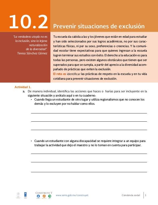 """Conciencia social 1 Prevenir situaciones de exclusión10.2 """"La verdadera utopía no es la inclusión, sino la lejana naturali..."""