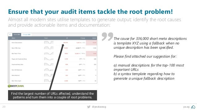 pa.ag@peakaceag20 Ensure that your audit items tackle the root problem! Almost all modern sites utilise templates to gener...