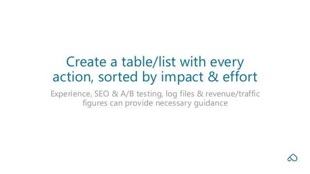 Experience, SEO & A/B testing, log files & revenue/traffic figures can provide necessary guidance Create a table/list with...