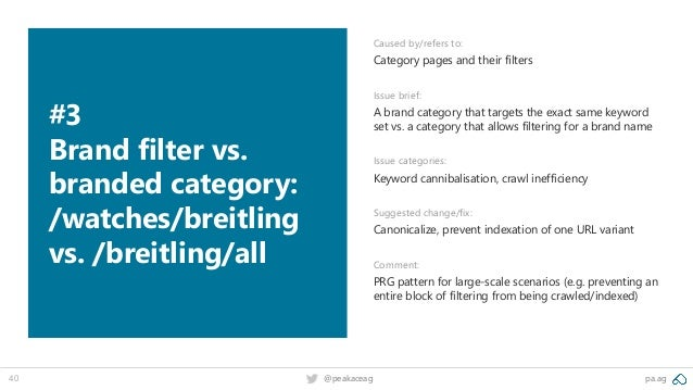pa.ag@peakaceag40 #3 Brand filter vs. branded category: /watches/breitling vs. /breitling/all Caused by/refers to: Categor...