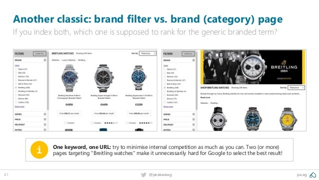 pa.ag@peakaceag41 Another classic: brand filter vs. brand (category) page If you index both, which one is supposed to rank...