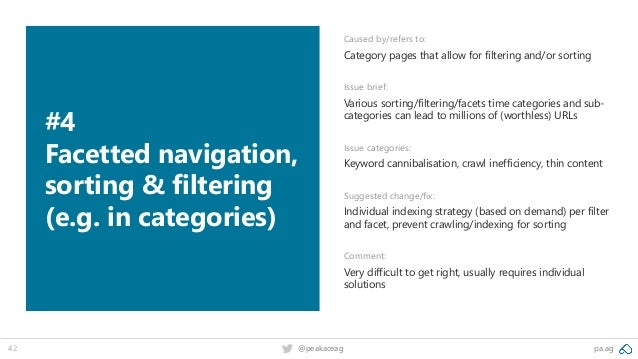 pa.ag@peakaceag42 #4 Facetted navigation, sorting & filtering (e.g. in categories) Caused by/refers to: Category pages tha...