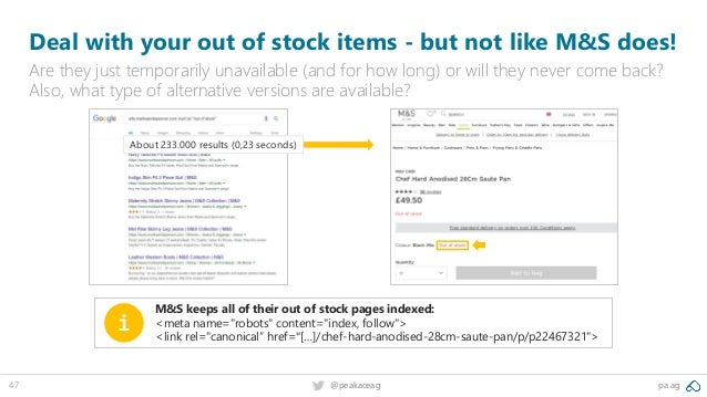 pa.ag@peakaceag47 Deal with your out of stock items - but not like M&S does! Are they just temporarily unavailable (and fo...