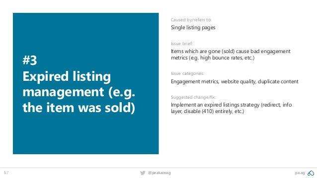 pa.ag@peakaceag67 #3 Expired listing management (e.g. the item was sold) Caused by/refers to: Single listing pages Issue b...