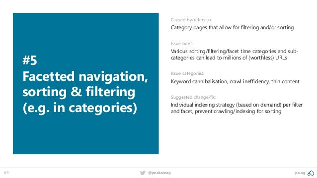 pa.ag@peakaceag69 #5 Facetted navigation, sorting & filtering (e.g. in categories) Caused by/refers to: Category pages tha...