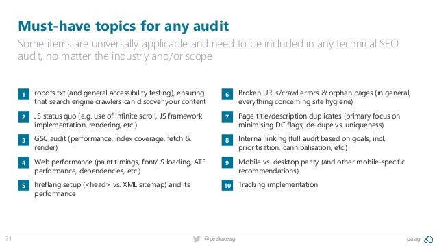 pa.ag@peakaceag71 Must-have topics for any audit Some items are universally applicable and need to be included in any tech...