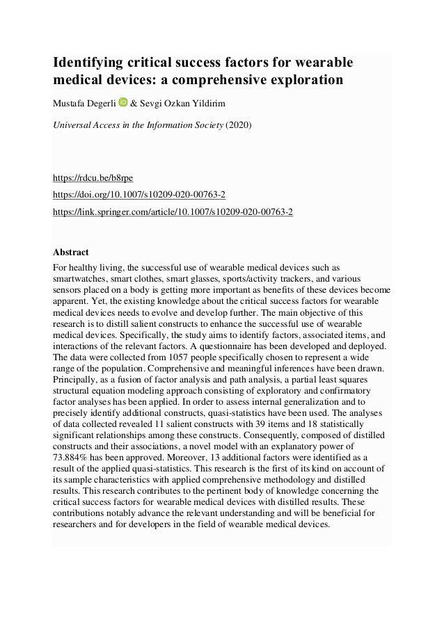 Identifying critical success factors for wearable medical devices: a comprehensive exploration Mustafa Degerli & Sevgi Ozk...