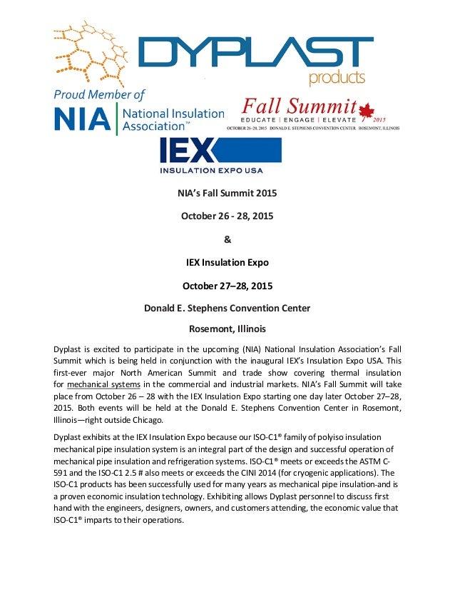 NIA's Fall Summit 2015 October 26 - 28, 2015 & IEX Insulation Expo October 27–28, 2015 Donald E. Stephens Convention Cente...