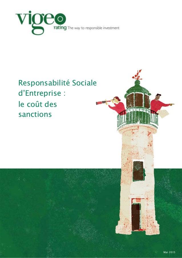 Responsabilité Sociale d'Entreprise : le coût des sanctions Mai 2015