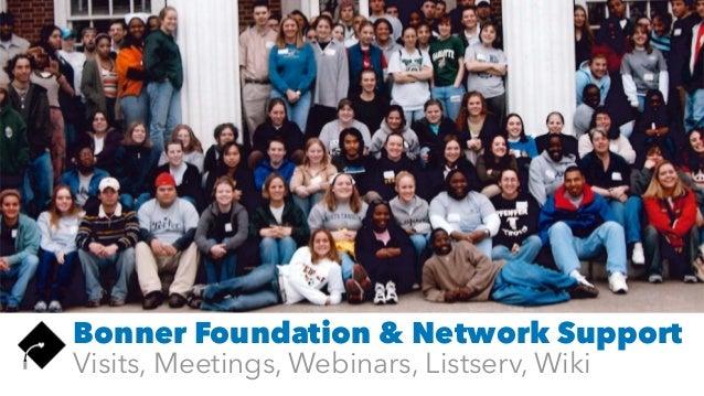 Bonner Foundation & Network Support Visits, Meetings, Webinars, Listserv, Wiki