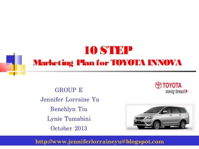 10 step marketing plan for toyota innova group e