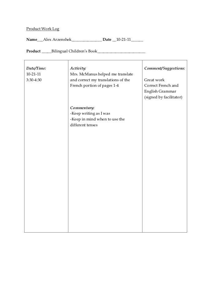 Product Work LogName___Alex Arzenshek_______________ Date __10-21-11______Product _____Bilingual Children's Book__________...