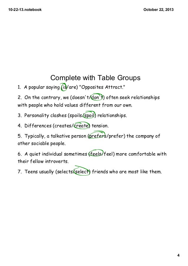 10 22 13 Subject Verb Agreement Lesson 1