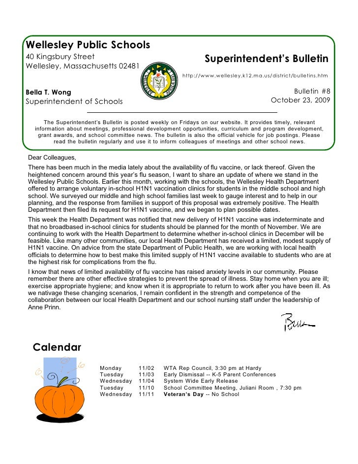 Wellesley Public Schools 40 Kingsbury Street                                              Superintendent's Bulletin Welles...