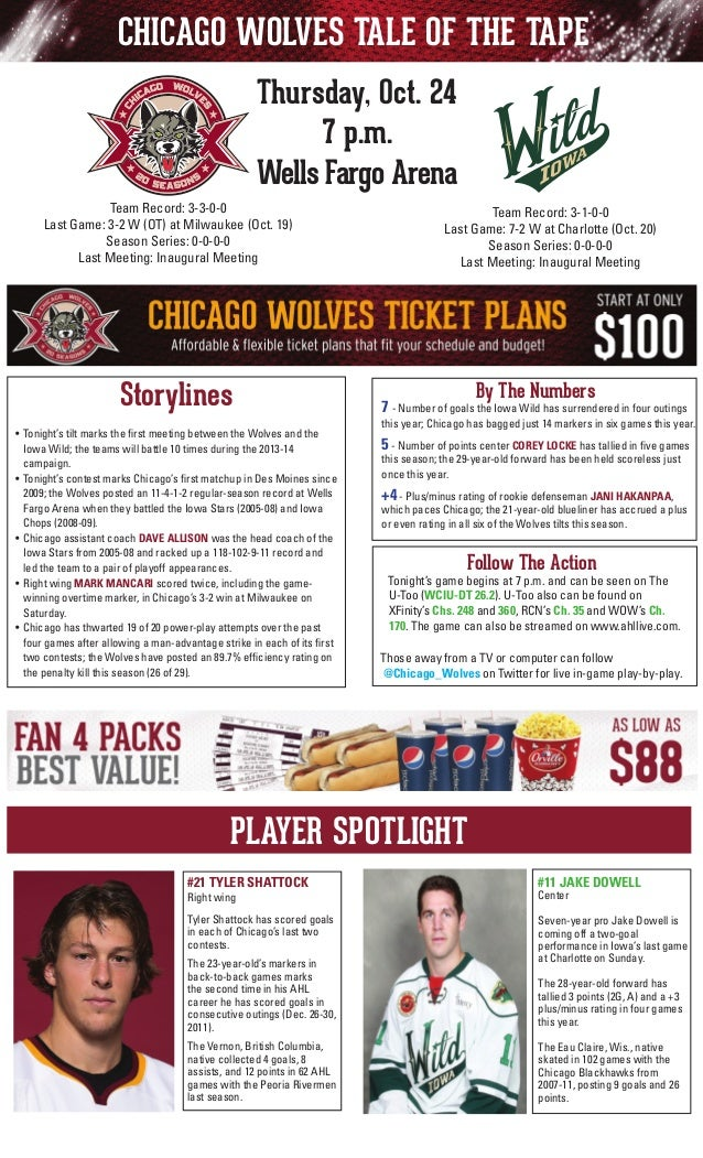 CHICAGO WOLVES TALE OF THE TAPE Thursday, Oct. 24 7 p.m. Wells Fargo Arena Team Record: 3-3-0-0 Last Game: 3-2 W (OT) at M...