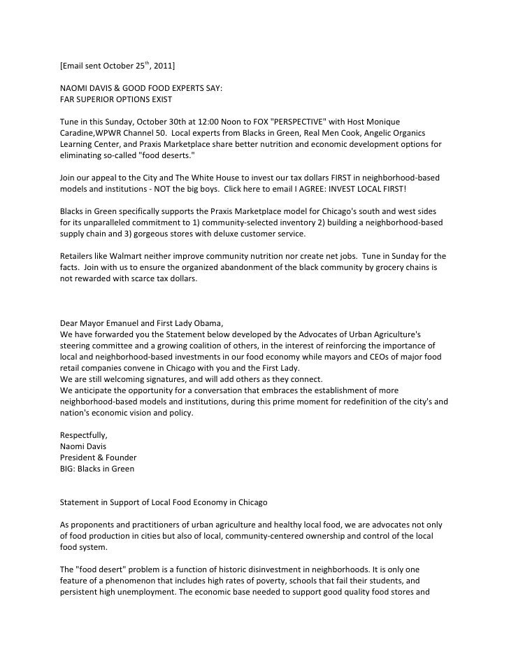 Letter to Michelle Obama& Chicago Mayor Oct25 '11