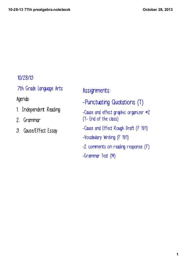 10281377thprealgebra.notebook  October28,2013  10/28/13 7th Grade Language Arts  Assignments:  Agenda:  -Punctuating...