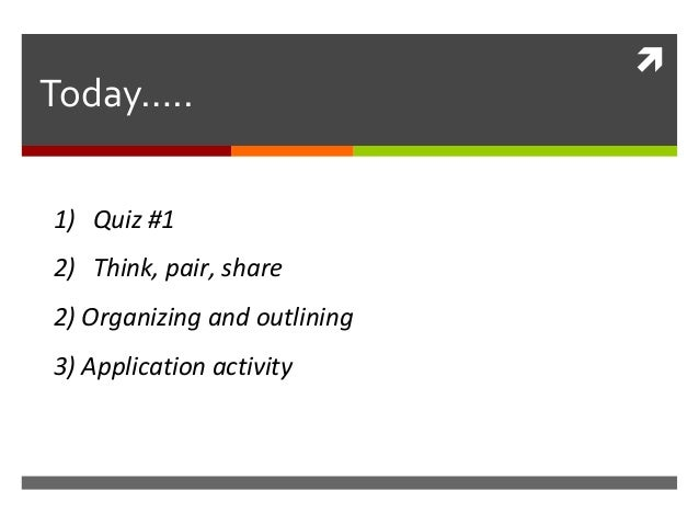  Today….. 1) Quiz #1 2) Think, pair, share 2) Organizing and outlining 3) Application activity