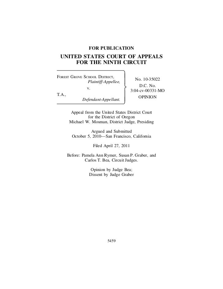 FOR PUBLICATION UNITED STATES COURT OF APPEALS      FOR THE NINTH CIRCUITFOREST GROVE SCHOOL DISTRICT,               No. ...