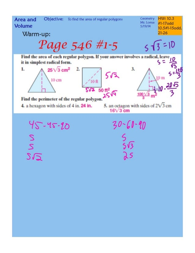 10 3 and 10-5 areas of regular polygons