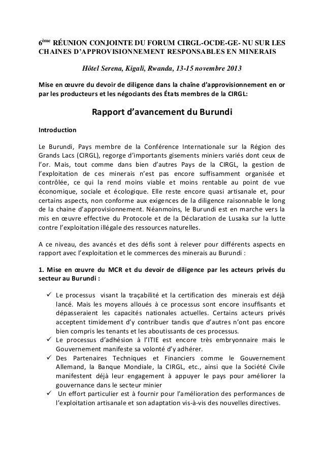6ème RÉUNION CONJOINTE DU FORUM CIRGL-OCDE-GE- NU SUR LES CHAINES D'APPROVISIONNEMENT RESPONSABLES EN MINERAIS Hôtel Seren...
