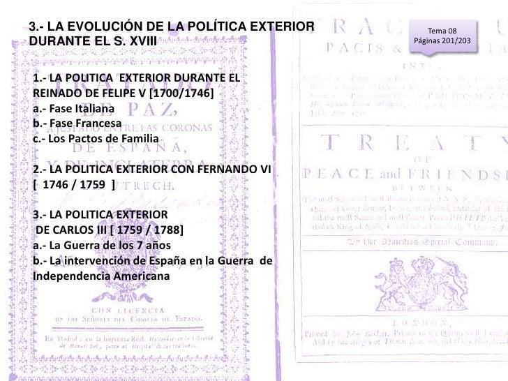 10 4 la politica exterior de espa a durante el s xviii for Politica exterior de espana