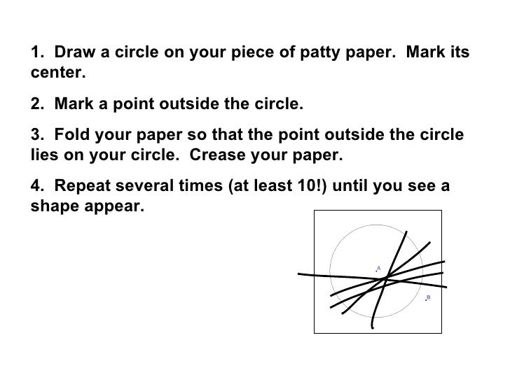 1.  Draw a circle on your piece of patty paper.  Mark its center. 2.  Mark a point outside the circle. 3.  Fold your paper...