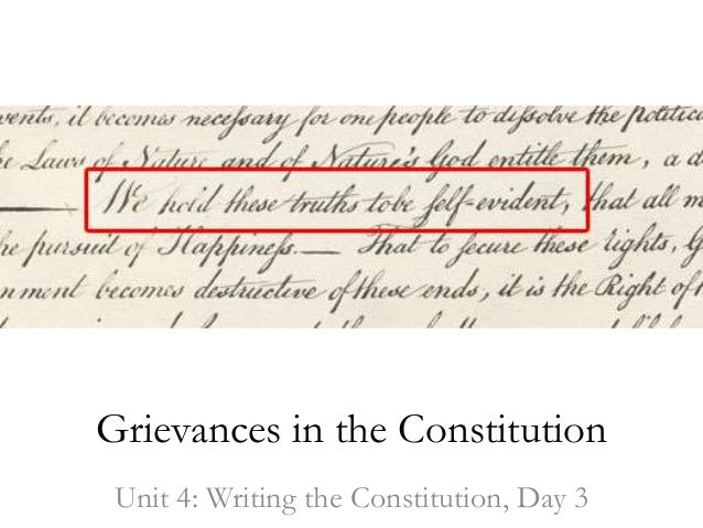 Grievances in the constitution