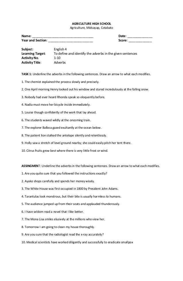 ENGLISH WORKSHEETS – English Worksheets for High School