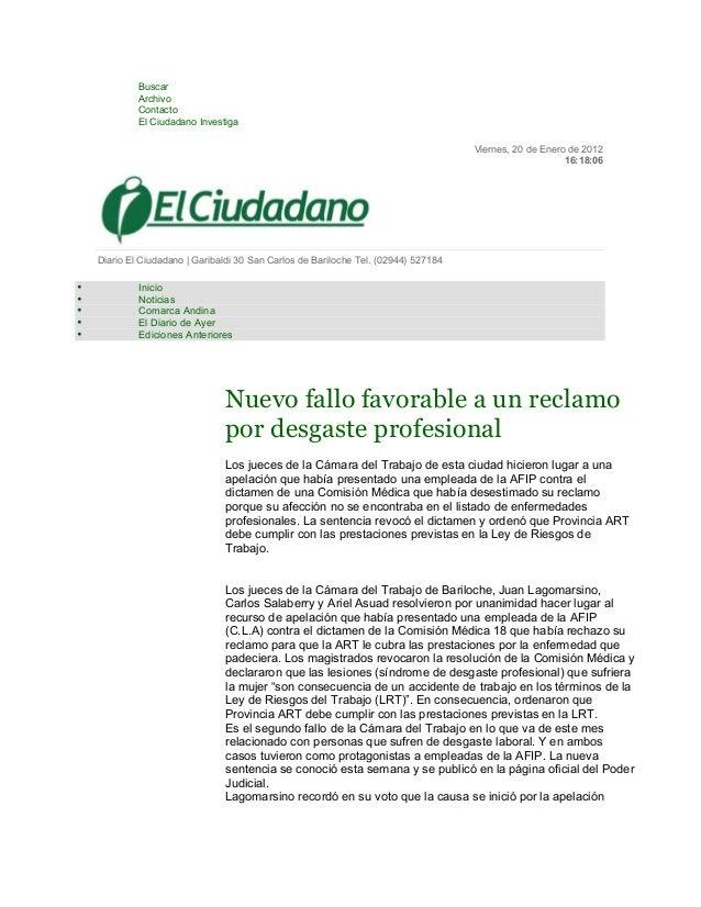 • Buscar  • Archivo  • Contacto  • El Ciudadano Investiga  Viernes, 20 de Enero de 2012  16:18:06  Diario El Ciudadano | G...