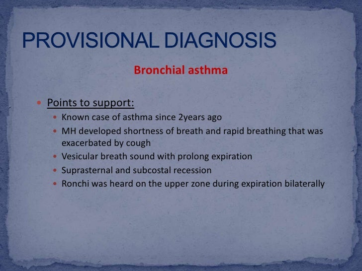 Case study for bronchial asthma