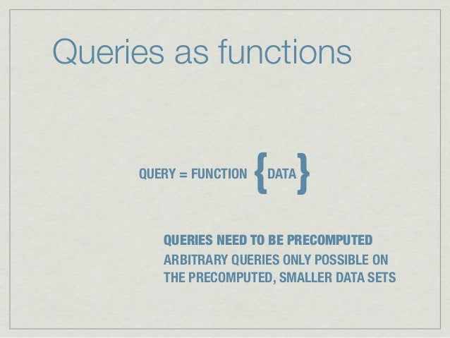 Queries as functions     QUERY = FUNCTION                        { }                        DATA        QUERIES NEED TO BE...