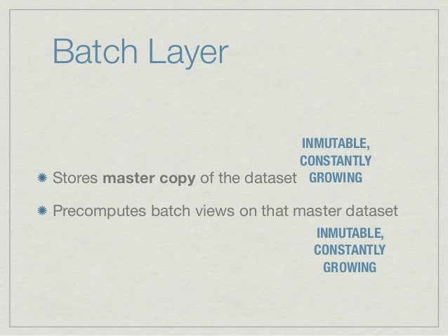 Batch Layer                                 INMUTABLE,                                 CONSTANTLYStores master copy of the...