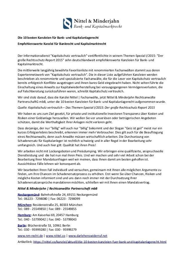 Die 10 besten Kanzleien für Bank- und Kapitalanlagerecht Empfehlenswerte Kanzlei für Bankrecht und Kapitalmarktrecht Der I...
