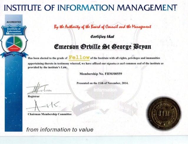 IIM Certificate - Professional Fellow