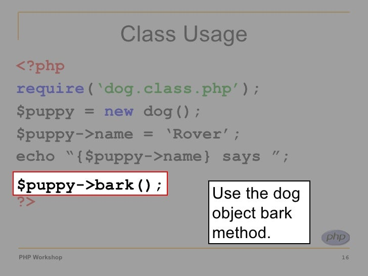 how to create object of class in php
