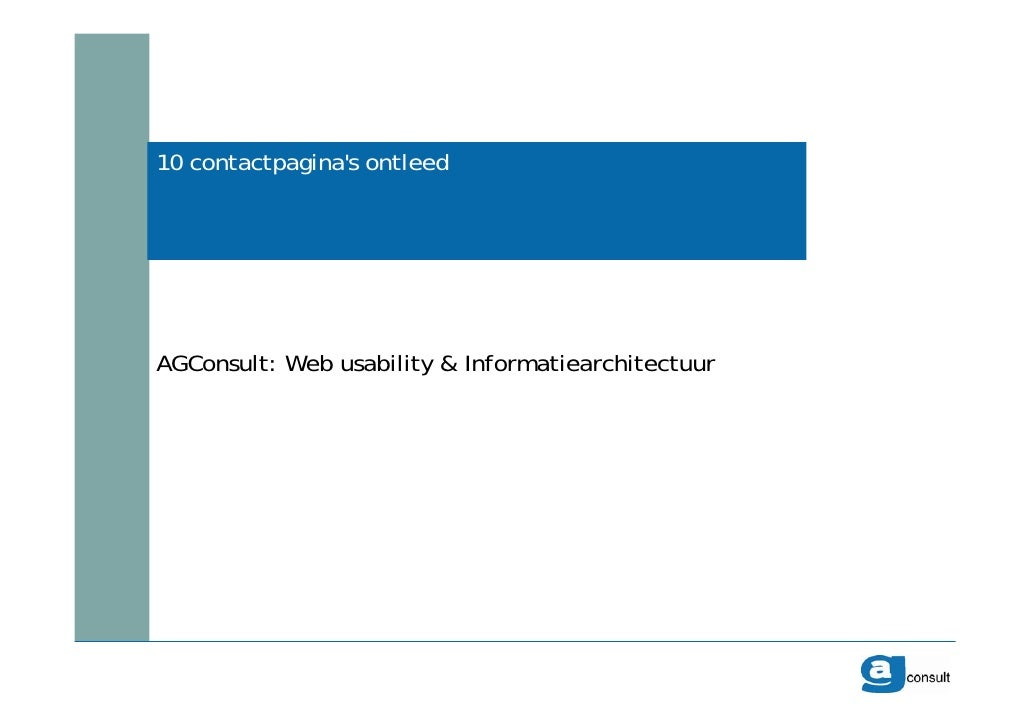 10 contactpagina's ontleed AGConsult: Web usability & Informatiearchitectuur