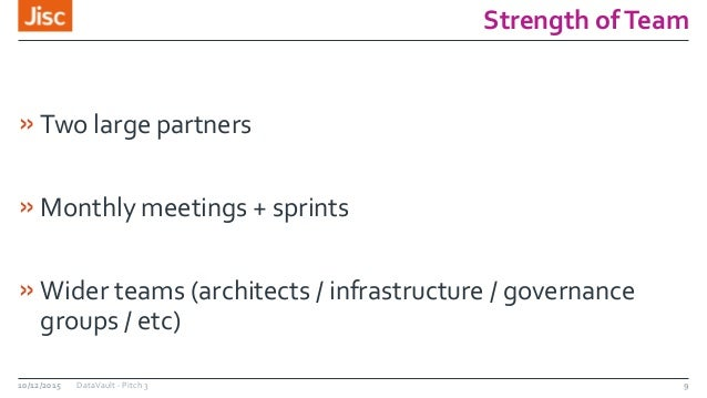 Strength ofTeam »Two large partners »Monthly meetings + sprints »Wider teams (architects / infrastructure / governance gro...