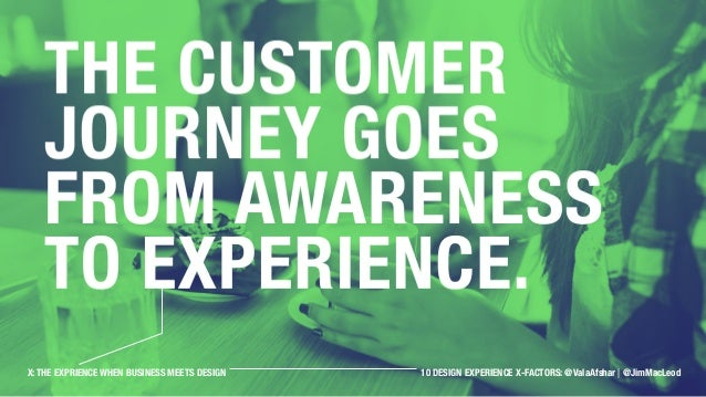The customer journey goes from awareness to experience. X: THE EXPRIENCE WHEN BUSINESS MEETS DESIGN 10 OBSERVATIONS: @Vala...