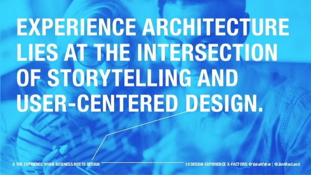 Experience architecture lies at the intersection of storytelling and user-centered design. X: THE EXPRIENCE WHEN BUSINESS ...