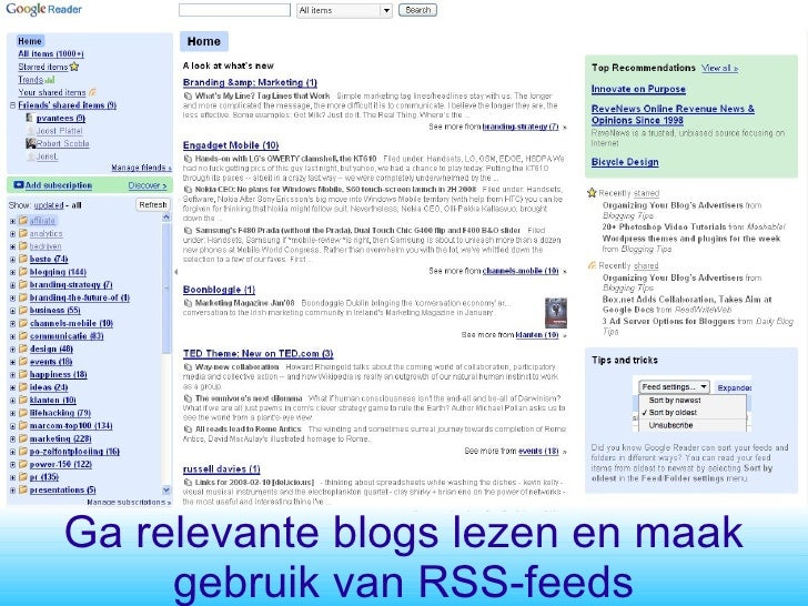 Ga relevante blogs lezen en maak gebruik van RSS-feeds