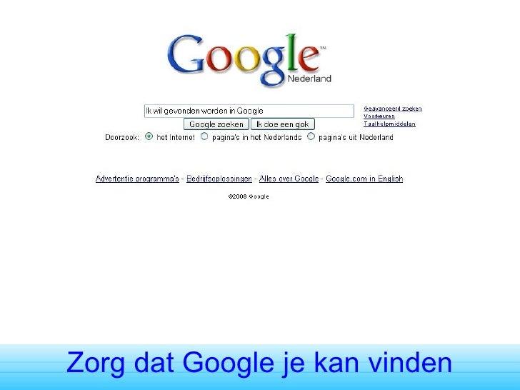 Zorg dat Google je kan vinden