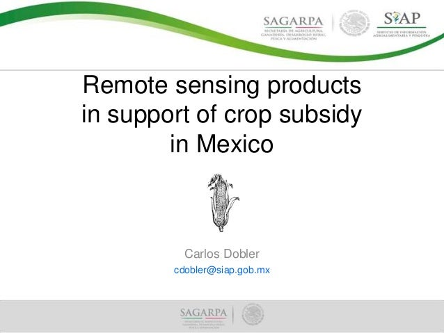 Remote sensing products in support of crop subsidy in Mexico  Carlos Dobler cdobler@siap.gob.mx