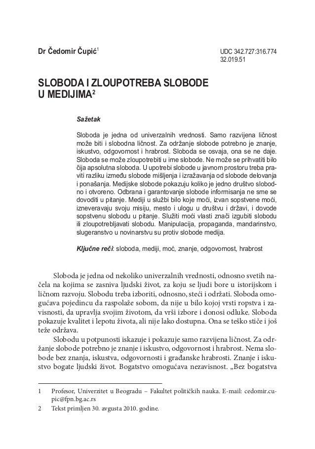 Dr Čedomir Čupić                                               UDC 342.727:316.774                                      ...