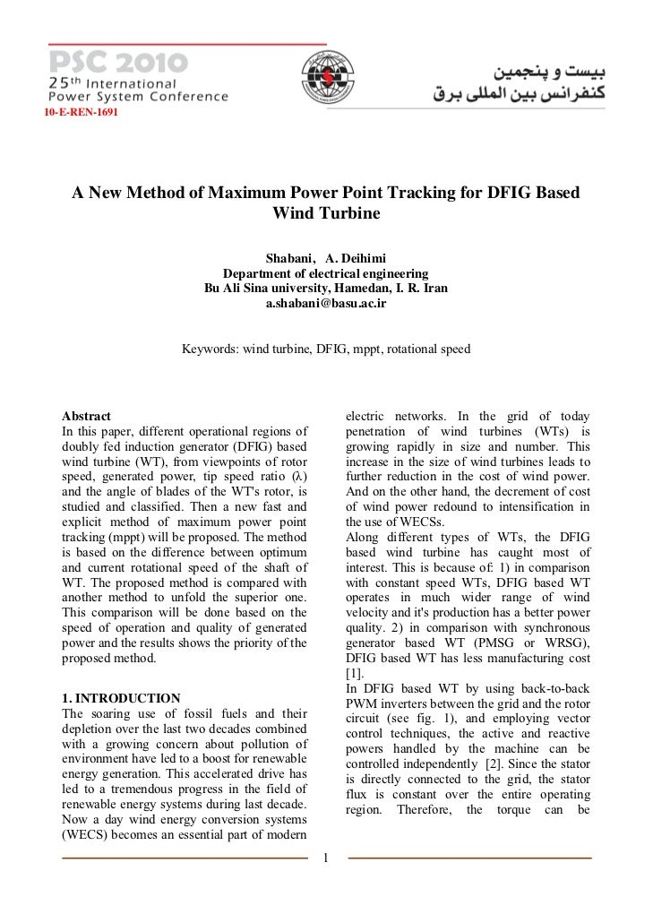 10-E-REN-1691    A New Method of Maximum Power Point Tracking for DFIG Based                          Wind Turbine        ...